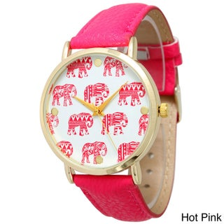 Olivia Pratt Women's Leather Strap Tribal Patterned Elephant Dial Watches