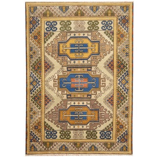 Herat Oriental Indo Hand-knotted Tribal Kazak Multicolor Wool Rug (5'8 x 7'11)