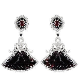 Orchid Jewelry Valentine Collection One of A Kind 925 Silver Earring 45.76ct TGW Tourmaline, Sapphire, Topaz & Ruby