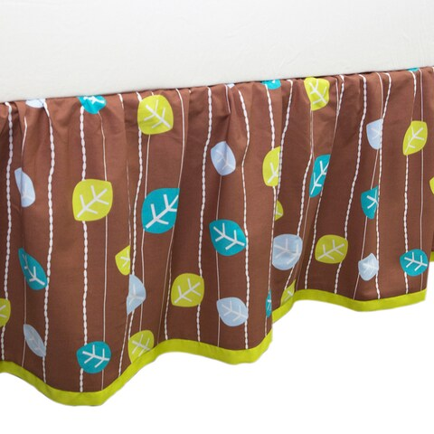 True Baby Tree Tops Bed Ruffle in Leaf Print