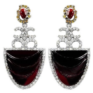 Orchid Jewelry Valentine Collection One of A Kind 925 Silver Earring 39.44ct TGW Tourmaline, Ruby, Diamond & Topaz