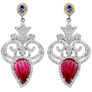 Orchid Jewelry Valentine Collection One of A Kind 925 Silver Earring 12.32ct TGW Diamond and Multi Gemstone