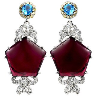 Orchid Jewelry Valentine Collection One of A Kind 925 Silver 23 1/2ct Tourmaline, Topaz and Diamond Earrings