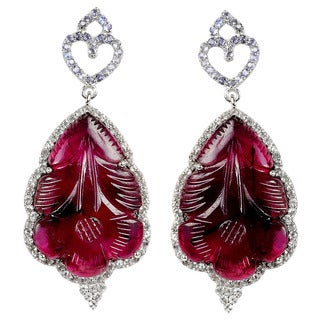 Orchid Jewelry OOAK 37-1/4 Carat Pink Tourmaline, White Topaz & Tanzanite 925 Sterling Silver Earrings