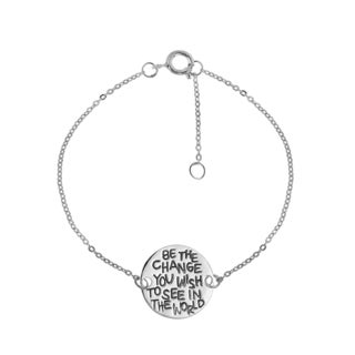 Handmade 'Be The Change You Wish To See In The World' Sterling Silver Bracelet (Thailand)
