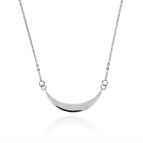 Handmade Trendy Horizontal Crescent Moon Sterling Silver Necklace (Thailand)