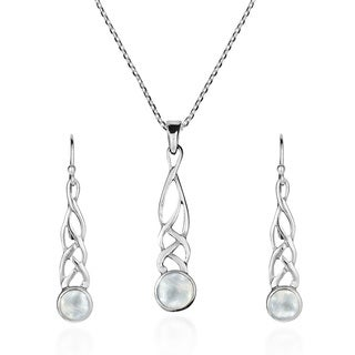 Handmade Celtic Knot Mother of Pearl .925 Silver Necklace Earrings Set (Thailand) - White