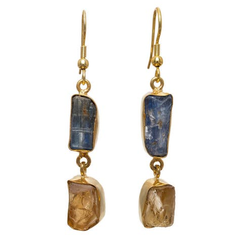 Handmade Gold Overlay Blue Kyanite and Citrine Earrings (India) - multi