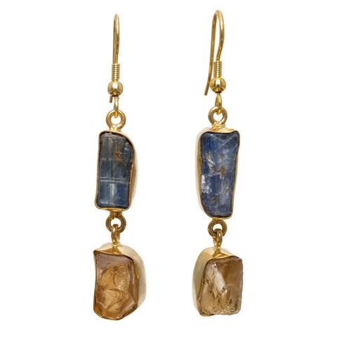 Handmade Gold Overlay Blue Kyanite and Citrine Earrings (India) - multi