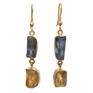 Sitara Collections 10k Goldplated Brass Blue Kyanite and Citrine Dangle Earrings (India)