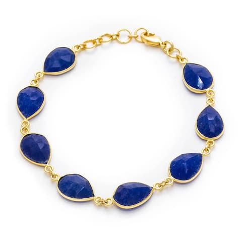 Handmade Gold Overlay Sapphire Corundum Bracelet (India) - Blue