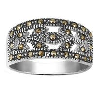 Handmade Vintage Nature Leaves Marcasite Sterling Silver Ring (Thailand)