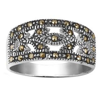 Handmade Vintage Leaves Marcasite Sterling Silver Ring (Thailand)