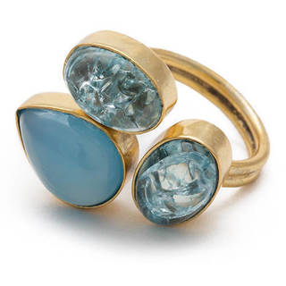 Handmade Goldplated Brass Blue Chalcedony and Snake Skin Adjustable Ring (India)