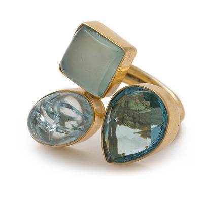 Handmade Gold-overlay Blue Chalcedony and Jasper Ring (India) - multi