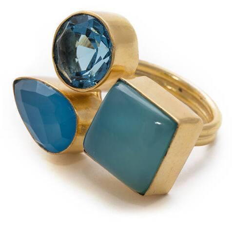 Sitara Handmade Gold-Overlay Blue Chalcedony Ring (India)