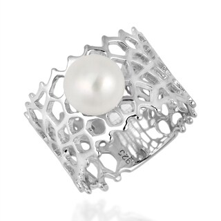 Exotic White Pearl Synthetic Coral Reef Band Sterling Silver Ring