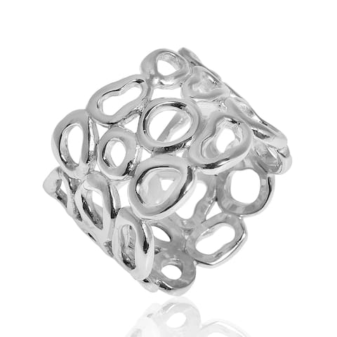 Handmade Pebble Silhouette 15mm Wide Band .925 Sterling Silver Ring (Thailand)