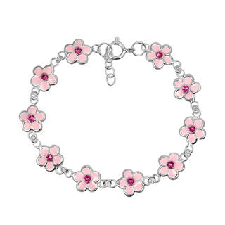 Handmade Charming Pink Floral Blossoms .925 Sterling Silver Child's Bracelet (Thailand)
