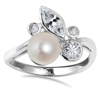 Enchanting Pink Freshwater Pearl Foliage .925 Silver Ring (Thailand)