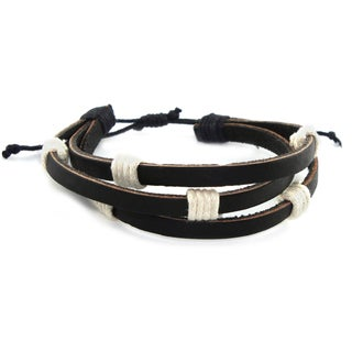 Black Triple Leather Adjustable Rock 'n Roll Bracelet (Indonesia)