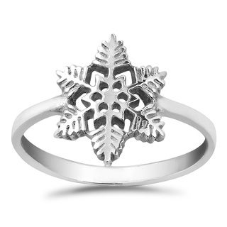 Handmade Individuality Winter Snowflake .925 Sterling Silver Ring (Thailand)