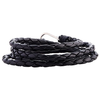 Triple Black Braided Genuine Leather Bracelet with Polished Hook Closure (Indonesia)