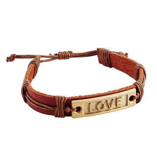 Adjustable Russet Genuine Leather Bracelet with Metal Love Plate (Indonesia)