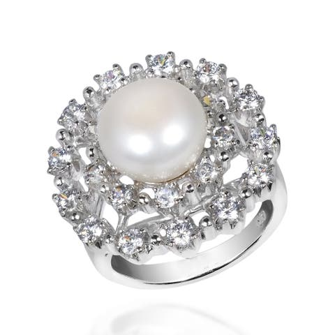 Handmade Radiant Pearl Cubic Zirconia .925 Silver Cocktail Ring (Thailand) - White