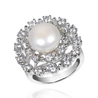Handmade Radiant Pearl Cubic Zirconia .925 Silver Cocktail Ring (Thailand)