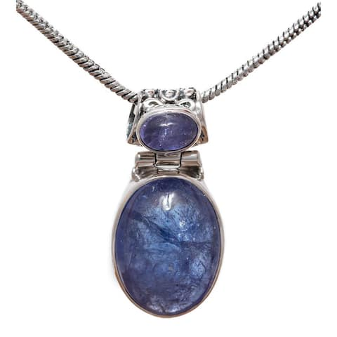 Handmade Sterling Silver Double Tanzanite Necklace (India) - Blue