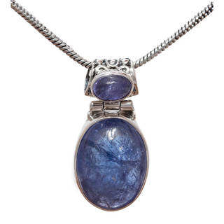 Handmade Sterling Silver Double Tanzanite Pendant 18-inch Drop Necklace (India)