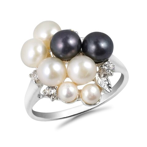 Handmade Cluster Pearl Grape Cubic Zirconia .925 Sterling Silver Ring (Thailand)