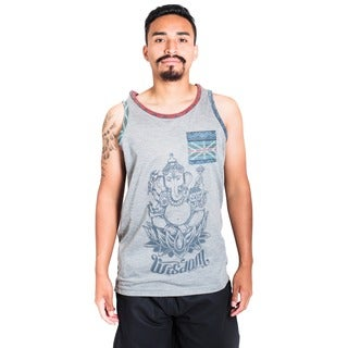 Men's Grey Om Print Patterned Pocket Muscle Tank Top (India)