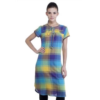 MB Women's Ethnic Yarn Dyed Check Kurta Tunic (India)