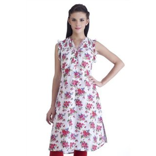 In-sattva MB Women's Ethnic Rose Printed Kurta Tunic (India)