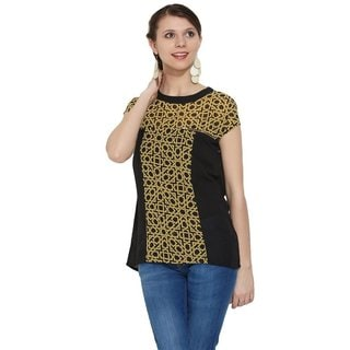 In-sattva MOHR Women's Zip Detail Print-Solid Combo Top (India)