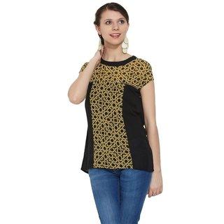 Handmade In-sattva MOHR Women's Zip Detail Print-Solid Combo Top (India)