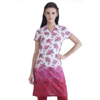 In-sattva MB Women's Ethnic Rose Printed Gradation Kurta Tunic (India)