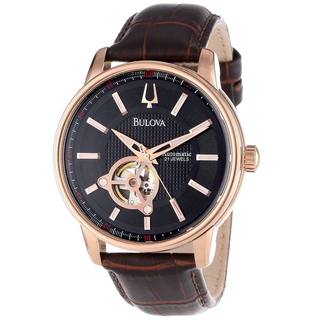 Bulova Men's Brown Leather Rose Goldtone Stainless Steel Series 160 Automatic Black Dial Watch