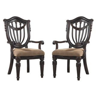 Neoclassic Arm Chair in Dark Brown (Set of 2)