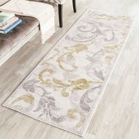 Safavieh Indoor/ Outdoor Amherst Ivory/ Light Grey Rug - 2' 3 x 7'