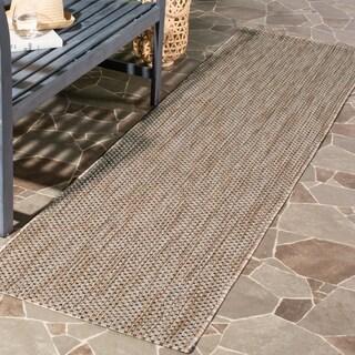 Safavieh Indoor/ Outdoor Courtyard Natural/ Black Rug (2' 3 x 12')
