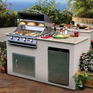 Cal Flame Stucco Stainless Steel 6 Feet 4 Burner Grill Island with Granite Top