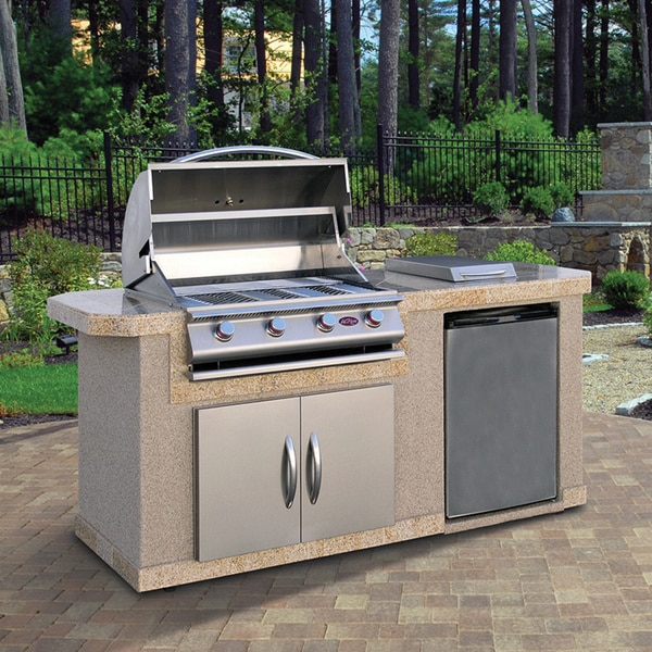 Cal flame lbk 701 a stucco stainless steel 7 foot 4 burner for Home goods outdoor kitchen