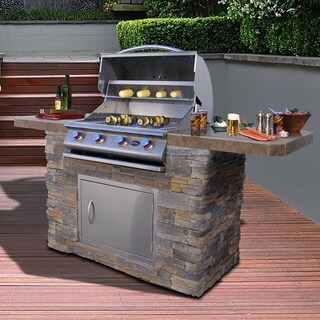 Cal Flame Cultured Stone Stainless Steel 7 Ft 4 Burner Grill Island