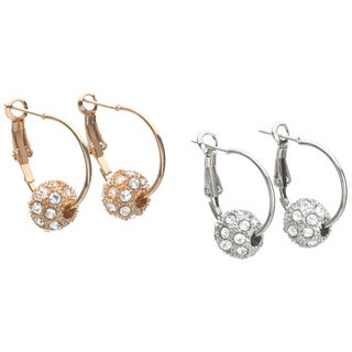 Crystal Ball Hoop Earrings