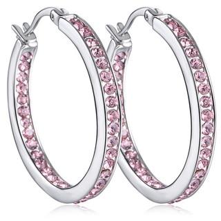 18k White Goldplated Crystal Inside Out Hoop Earrings