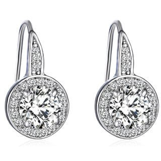 14k Gold Overlay 3ct TGW Cubic Zirconia and Austrian Crystal Earrings