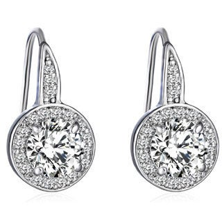14k White Gold Overlay 3ct TGW Cubic Zirconia and Austrian Crystal Earrings
